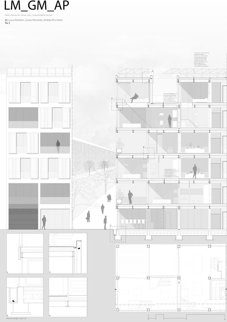 Politecnico di Torino   Tavola2 Progetto per lotto gotico nel quartiere de La Villette, Parigi