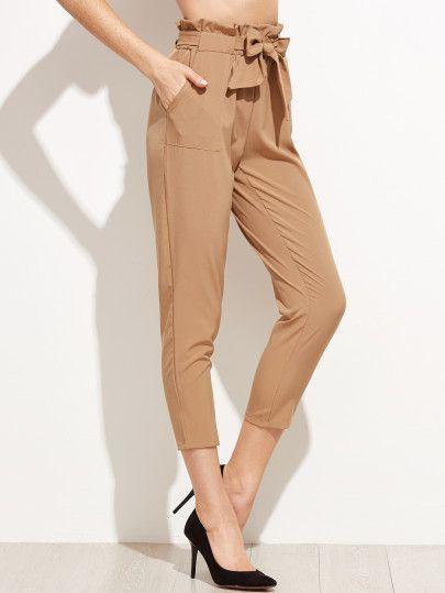 Pantalones con volantes y lazo en la cintura - kaki