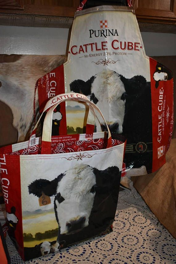 Recycled feed sack tote & a kitchen chef Apron with cow/cattle with red paisley ties this is a matching set