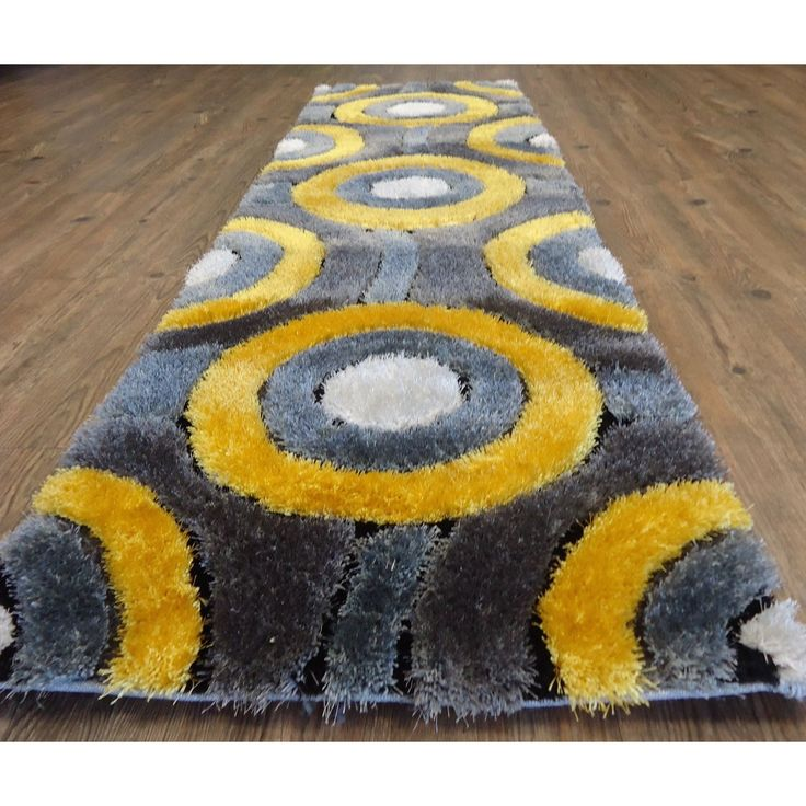 Cheerful Soft Shaggy Rug Runner Featuring Vibrant Shades of Gray Silver and Yellow