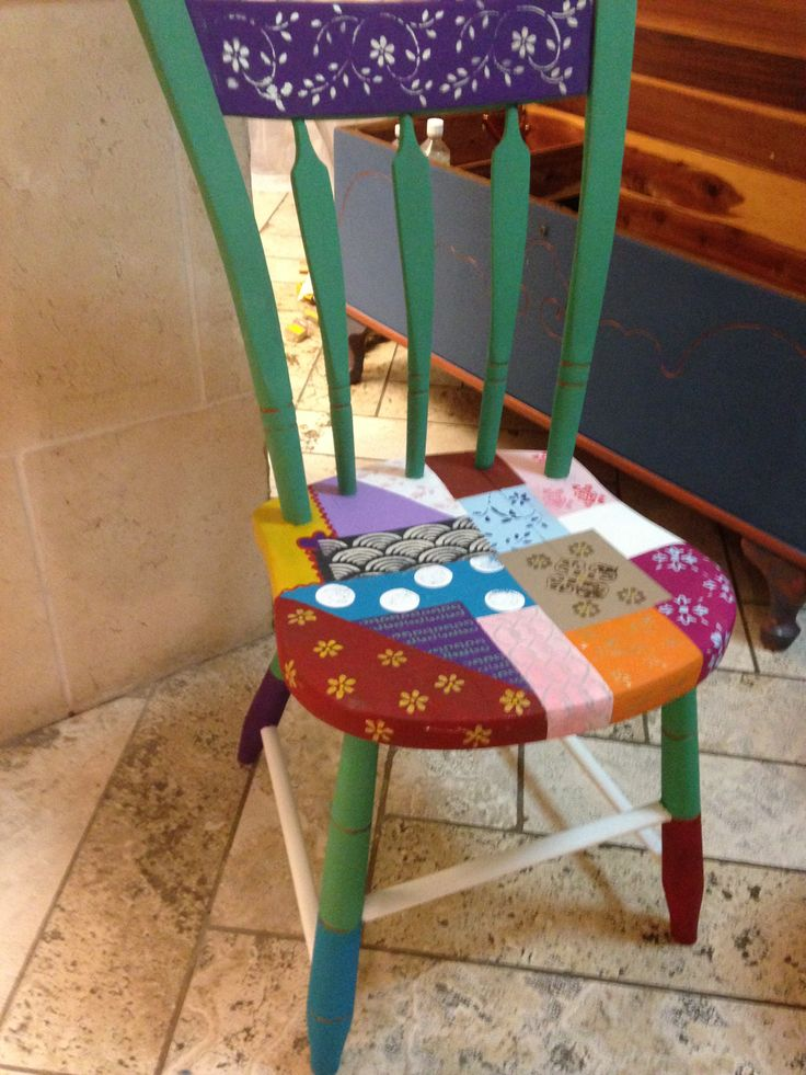 Farmhouse Chic chair No. 2 - the quilt chair, recreated at Behind The Purple Door with van gogh fossil paints.  www.behindthepurpledoor.biz.