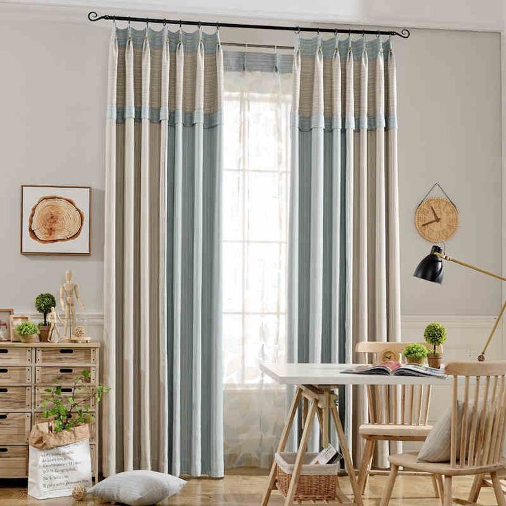 Yarn Dyed Striped Blinds Blackout Curtains And Tulle Window Voile Curtains For Living Room Bedroom cortinas para sala de estar #Affiliate