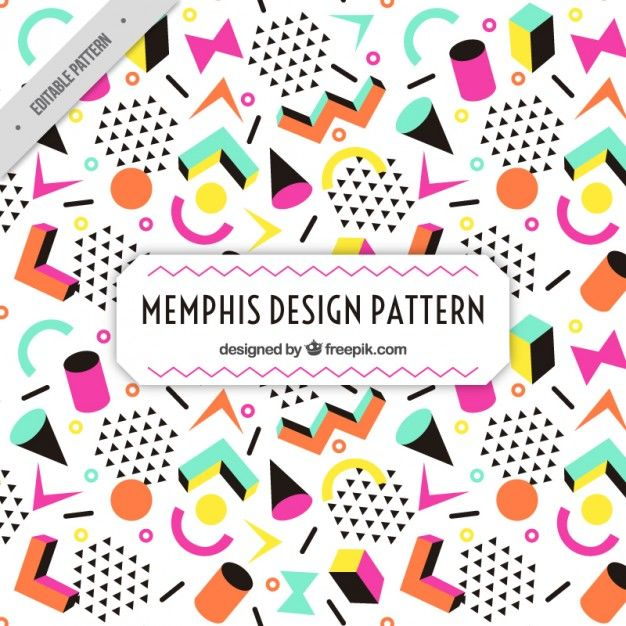 Colorful figures memphis pattern Free Vector