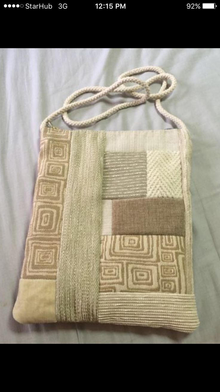 Handmade upholstery fabric patchwork bag