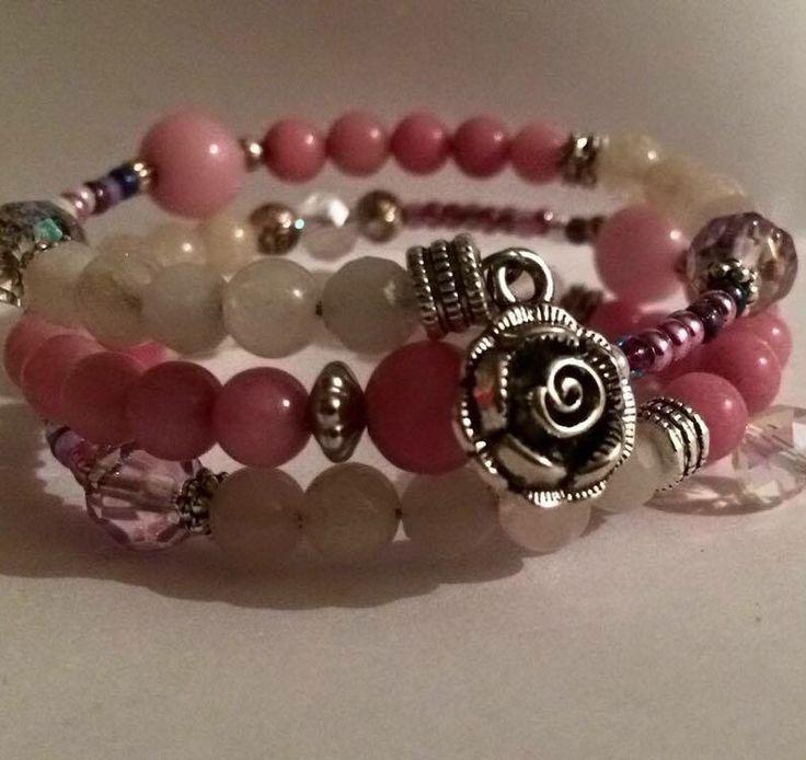 Shades of pink gemstone bracelet