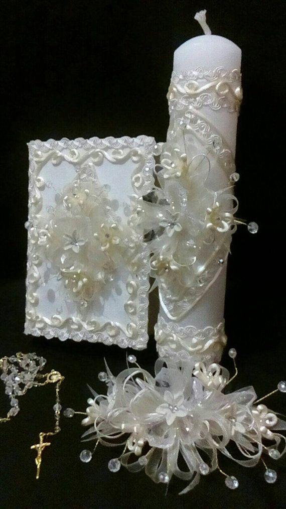 First Communion candle head Comb headpiece por FANNYCARMENDESIGN