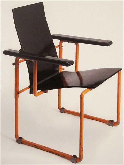 Gerrit Rietveld; Lacquered Wood and Enameled Tubular Metal Armchair, 1928.