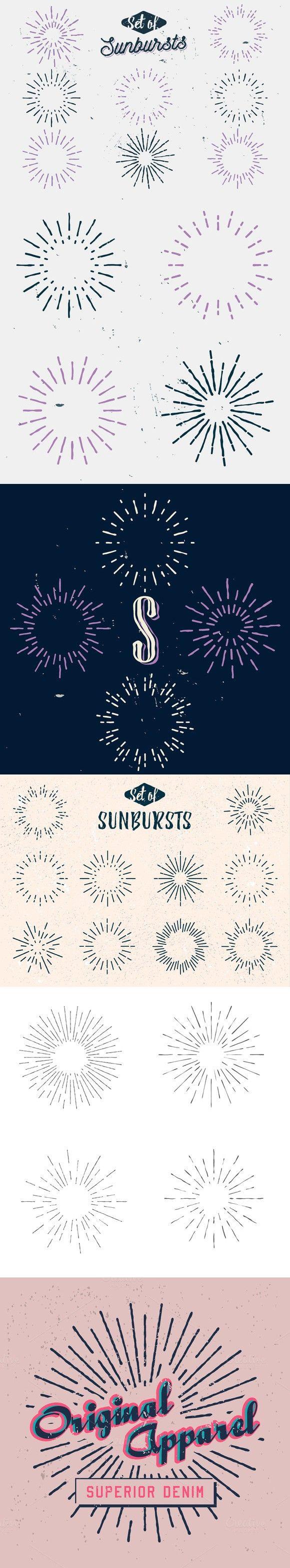 Retro sun rays (SUNBURSTS). Logo Templates. $6.00