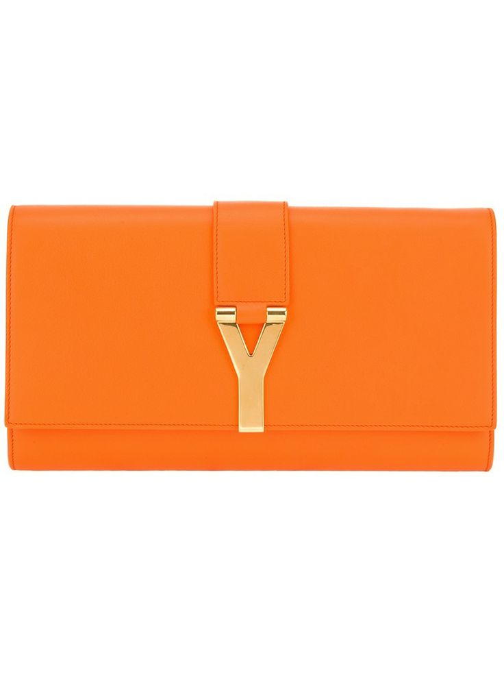 Y Brushed Leather Clutch