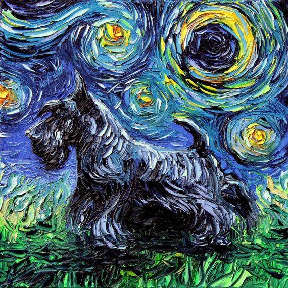 Scotty Art Starry Night Art Print Dog Lover Gift Cute Art By Aja