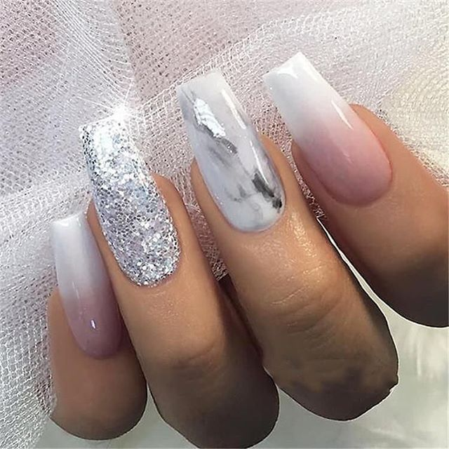 32 Pretty And Eye Catching Nail Art Designs Marble Acrylic Nails