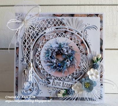 Handmade card by DT member Anja with Creatables Anja's Circle XL (LR0445), Petra's Larix (LR0438) and Tassel Fringe (LR0391) from Marianne Design