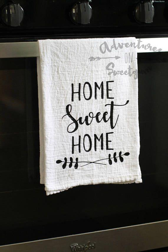Flour Sack Tea Towel Home Sweet Home Kitchen Dec…