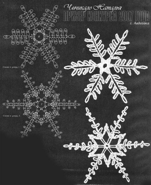 Crochet snowflakes and Christmas trees