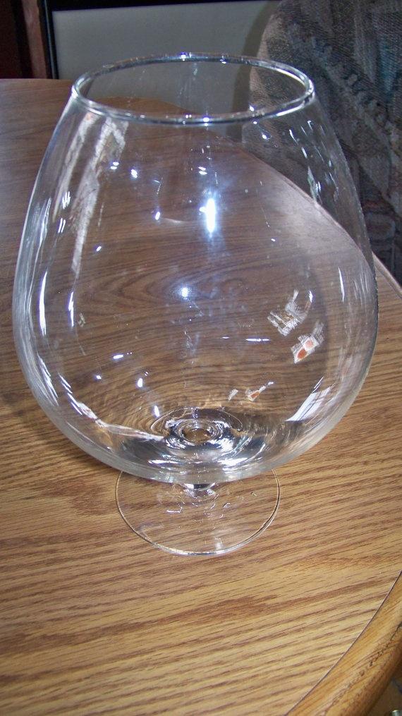 Vintage Etched Glass Snifter Vase  Large Brandy Snifter  Posy Vase  Etched Glass Vase with Floral Pattern
