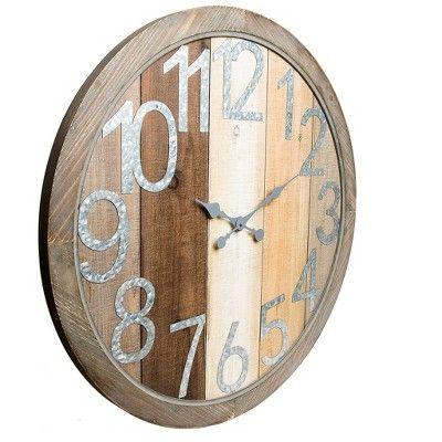 36 Quot X36 Quot Rustic Wood Shiplap And Metal Framed Wall Clock