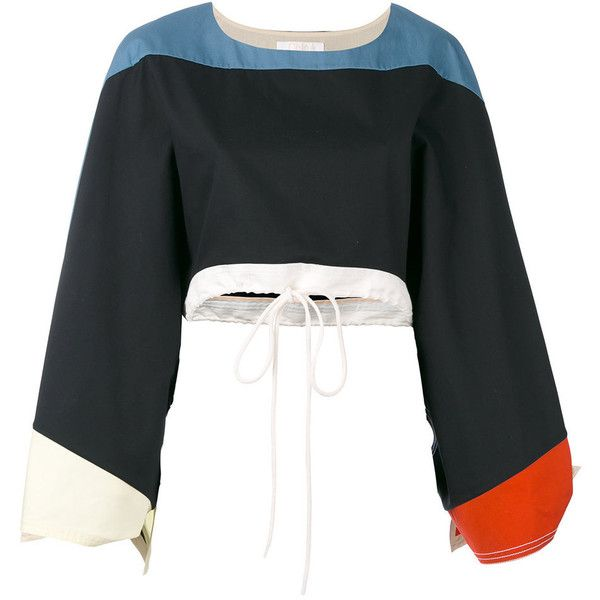 Chlo? Multicolor Colour Block Top ($1,150) ❤ liked on Polyvore featuring tops, multi, block top, nautical top, colorblock crop top, knotted crop top and colorful crop tops