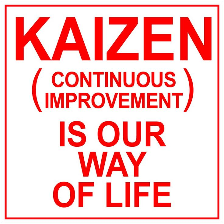 "Kaizen means ""continuous improvement"" and it is part of the Lean  methodology for workflow optimization."