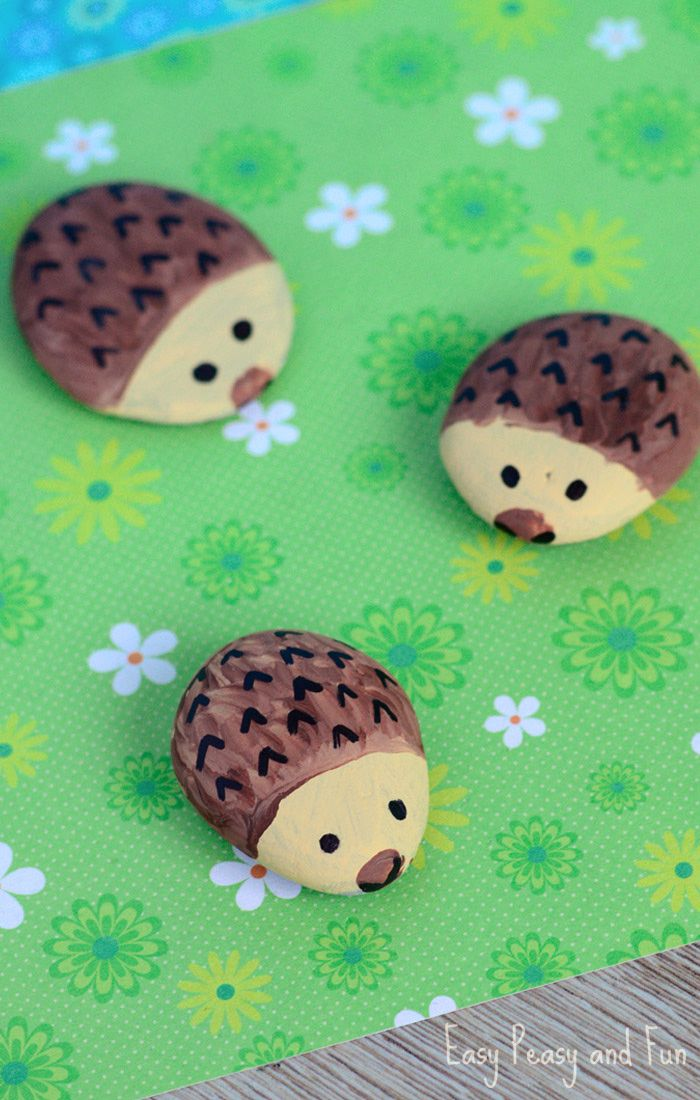 Hedgehog Painted Rocks - Rock Crafts for Kids - Easy Peasy and Fun
