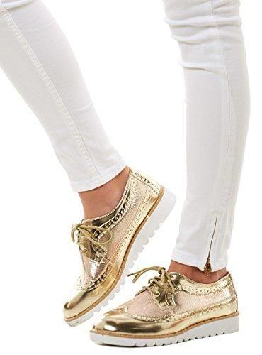 Oferta: 19.99€. Comprar Ofertas de Life & Style - Zapatos de cordones de Material Sintético para mujer Dorado dorado, color Dorado, talla EU 38 barato. ¡Mira las ofertas!