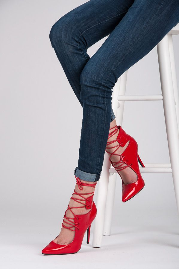 PINS Beautiful, painted high heels, red brilliant color, fashionable lacing, high heel slender silhouette. Very feminine and sexy. Fashion at the best price. http://cosmopolitus.com.pl/product-eng-95665-.html #pin #red #laceup #high #heels #fashionable #cheap