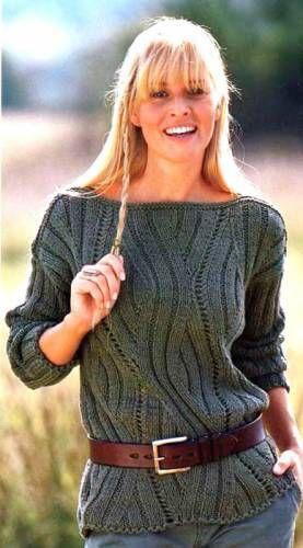 Пуловер с рельефным узором - 3 Кофты,свитера,пуловеры - Женская одежда - Каталог альбомов - SANA петелька