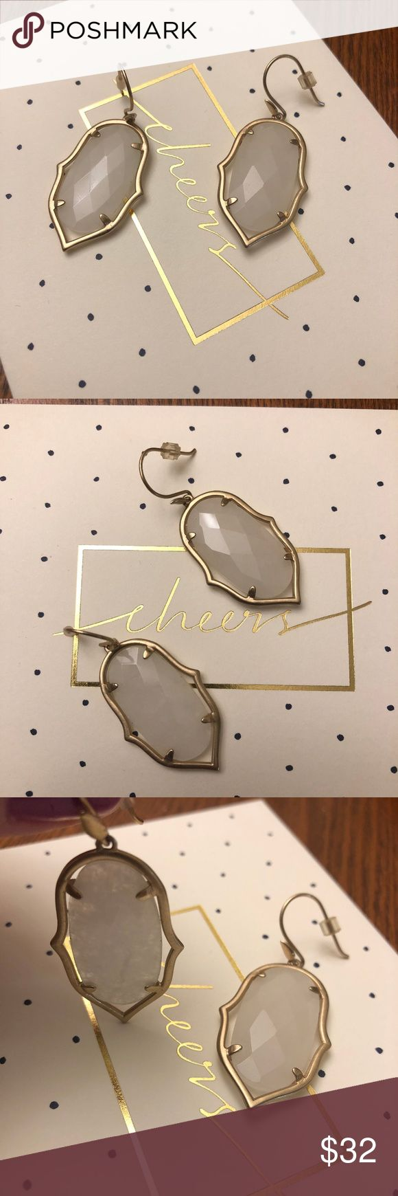 """Stella & Dot Amala Chandelier Earrings - EUC Excellent Used Condition - no cracks in the stone.  Still available on S&D site for $59 plus tax/shipping.  Web description:  Hand-cut semi-precious white agate set in a semi shiny gold frame. Elegant drops for any occasion.  Semi Shiny Gold Finish  2"""" Length  Medium Weight Smoke and pet-free home - used as a sample - see my other listing for matching necklace.  Enjoy and thank you! Stella & Dot Jewelry Earrings"""