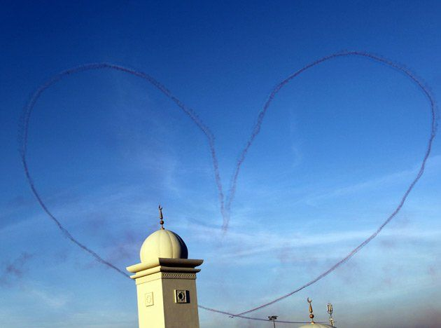 the patrouille acrobatique de france team leave a smoke trail in the shape of heart in dubai