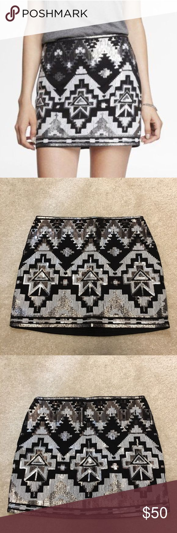 NWOT Express Sequin Mini Skirt Black, Silver and White stretchy Sequin Mini Skirt. Never worn, brand new! Great for dressing up! Will Accept Offers! :) Express Skirts Mini