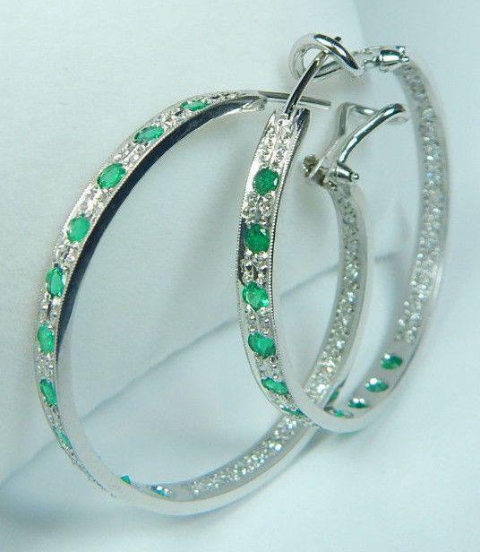 Colombian Emerald Diam Hoop Earrings 1.34 CTW 18K White Gold Fine Jewelry Muzo  #HandmadeByCiCeRi #Earrings