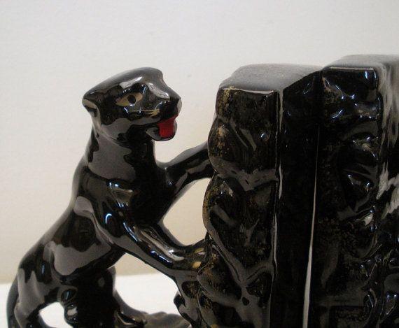 Vintage Japan Redware Black Panther Bookends Panthers