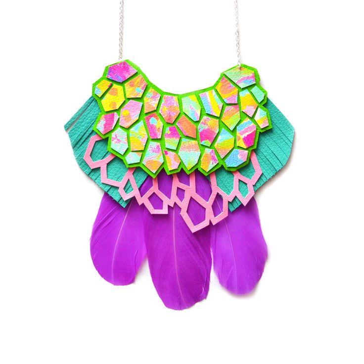 Purple Statement Necklace, Geometric Handmade Bib Necklace, Rainbow Hexagon Necklace - Boo and Boo Factory - Handmade Leather Jewelry
