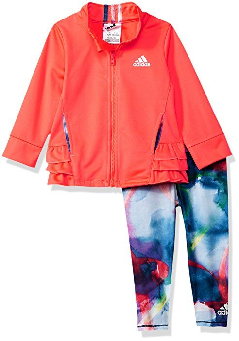 2431a2dcf Amazon.com: adidas Baby Girls' Zip Jacket and Pant Set, Flash Red, 3  Months: Clothing