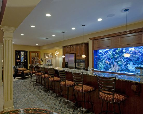 yes that s a built in fish tank in this basement bar remodel this rh pinterest com