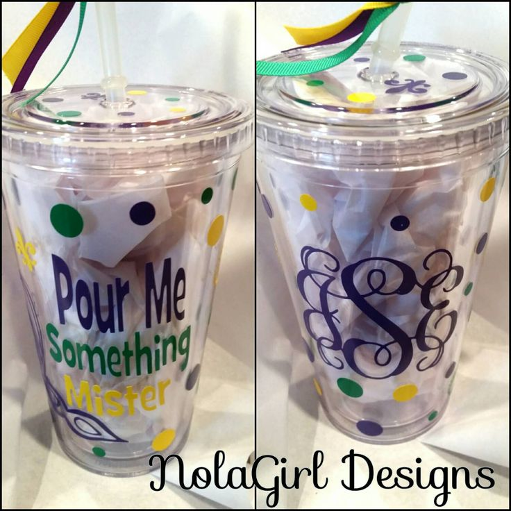 New Orleans Mardi Gras Vinyl Tumbler vinyl decorated Mardi Gras Acrylic Tumbler wedding party party go cup custom tumblers decorated Mardi Gras New Orleans NOLA Mardi Gras personalized tumbler Bachelorette party NOLA Weddings Mardi Gras 2016 To Go Cup Vinyl Decorated Cup Purple Green Gold 16 ounce tumbler decorated cup monogramed 18.75 USD #goriani