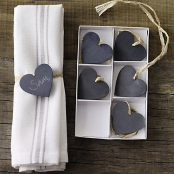 Zinc Hearts! We love these! Tie around napkins or onto gifts, use as place cards, or hang on knobs
