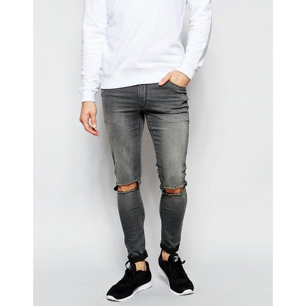 ASOS Extreme Super Skinny Jeans With Knee Rips (1,375 DOP) ❤ liked on  Polyvore featuring men's fashion, men's clothing, men's jeans, midgrey, mens  ... - 25+ Best Knee Ripped Jeans Mens Ideas On Pinterest Tank Top