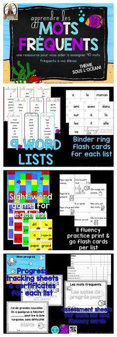 Apprendre les mots fréquents - tout ce qu'il vous faut pour enseigner à vos élèves du primaire 90 mots fréquents - à leur propre vitesse! Aussi disponible en Bundle avec les sons composés. $