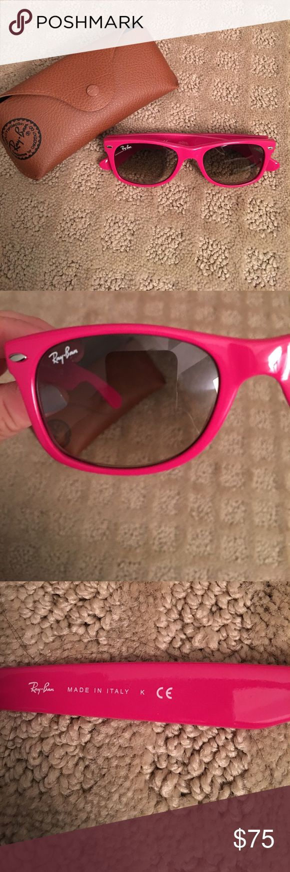 Ray Ban Wayfarer Hot pink Ray Ban wayfarer. Never worn with case. Women's fit. Ray-Ban Accessories Sunglasses