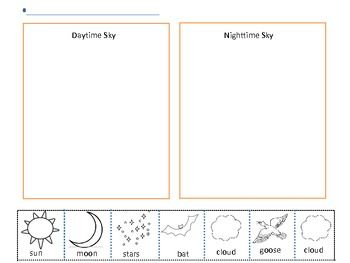"""Day and Night Sky"" Cut, Paste & Sort Activity (free; from Miss Gaffunny on TpT)"