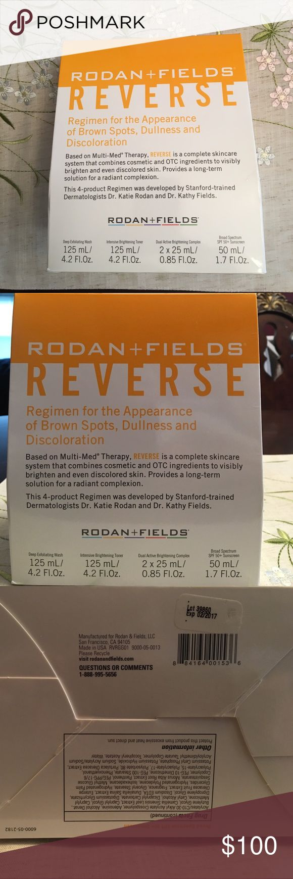 "Rodan and Fields Reverse Skincare System ""Reverse"" 4 piece regimen will visibly brighten and even discolored skin. It has never been used and is sealed. I got auto shipments but developed rosacea (NOT caused by these products) and I am now on a prescription rosacea medication and can no longer use these. I was hoping to be able to use it someday but my rosacea is too severe. The kit does have an expiration date of 2/2017 which is why I'm selling it at a discount. I'm sure the ingredients are…"