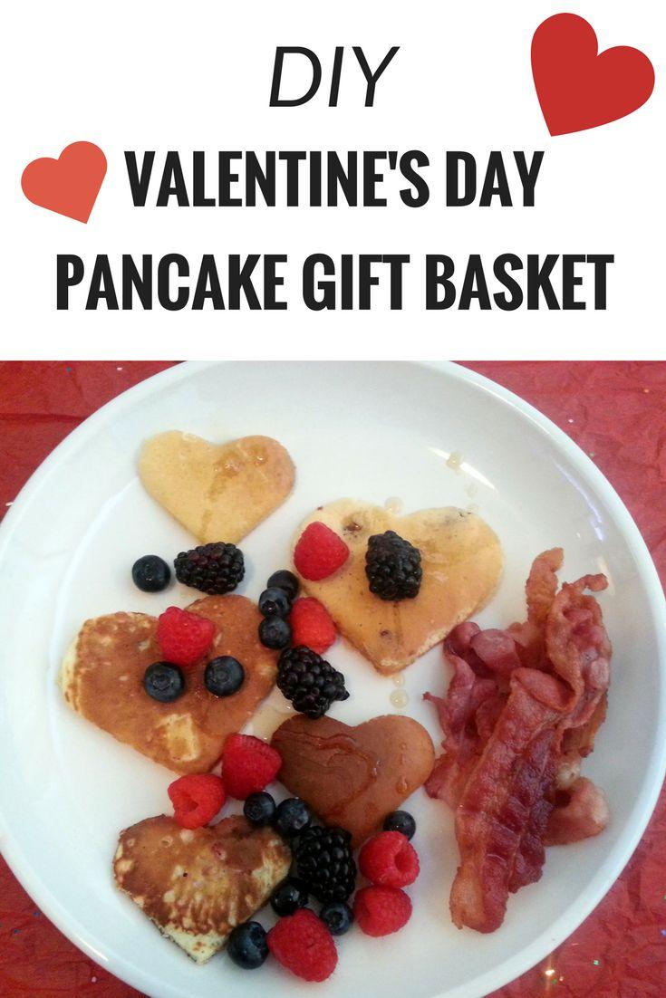DIY Pancake Gift Basket - Make a Valentine's Day Pancake gift basket for him. Heart-shaped pancakes would make for a romantic breakfast surprise. #DIYpancakegiftbasket #heartpancakes