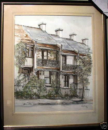 John Young original painting  Paddington Terraces  Sydney, Australian