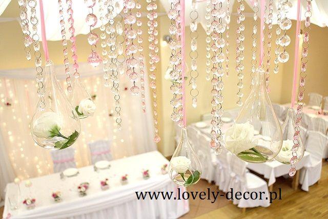 Kryształki - dekoracje ślubne #wedding #decor #ślub #dekoracje