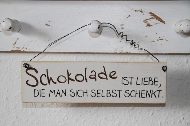Lustiges Türschild für Schokoladen-Liebhaber / funny door plate with quote for chocolate fans made by Nicki's Holzkiste via DaWanda.com