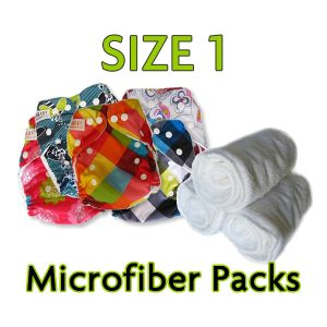 24 Diapers with 48 Microfiber Inserts (Size 1) $144--Size 1 shorter rise and for skinnier babies