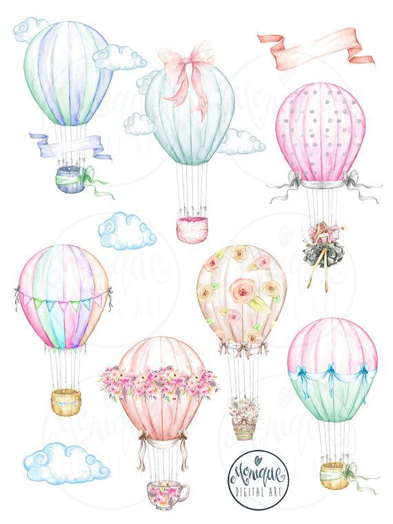 Hot Air Balloons Watercolor Planner Clipart Cute Balloons Balloons