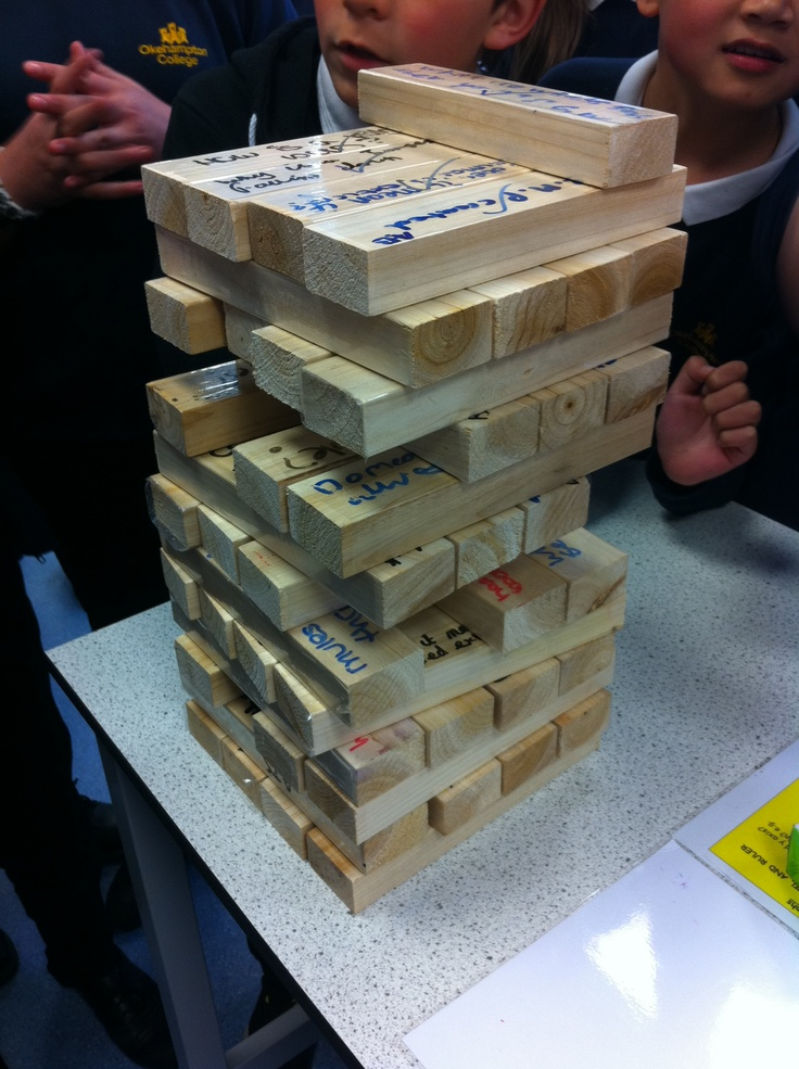 Giant Tower (Jenga)   Students write questions on wood covered in sticky back plastic. Great for plenary or revision.   Get students to write their name by question in case it is hard to read.