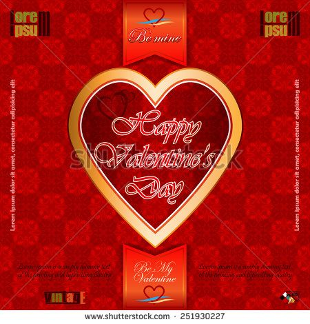 Vintage  labels with Happy Valentine's Day text; Be My Valentine/Be Mine text and nice heart logo;Ornamental arabesques background.  - stock vector