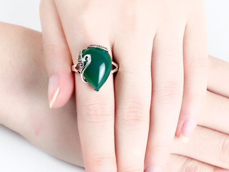 Старинные антикварные зеленый оникс изумрудный кольца стерлингового серебра 925 для женщин купить на AliExpress